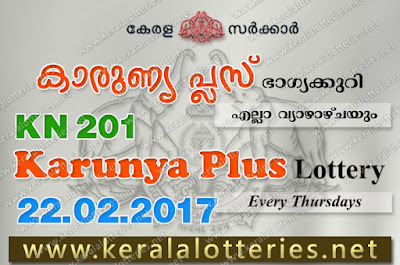 Kerala Lottery Results 22-Feb-2018 Karunya Plus KN-201 (www.keralalotteries.net)