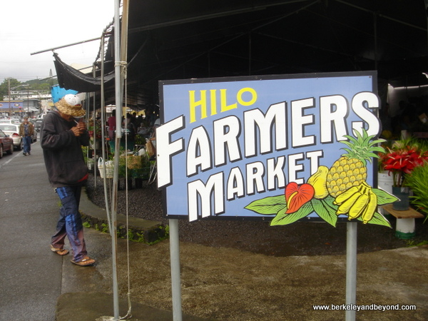 sign at Hilo Farmers Market in Hilo, Hawaii