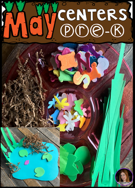 Are you looking for fun hands on centers for your pond, insects and spring themed activities? The Preschool End of the Year Spring Centers for May is sure to keep their interest and will help build important literacy, math and writing (fine-motor) skills. Like this open-ended pond craft.