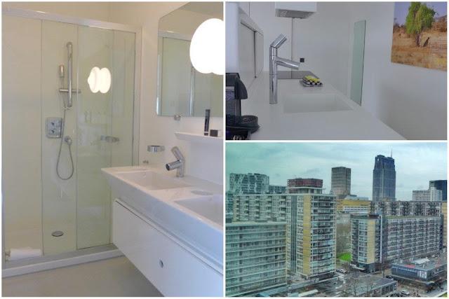 Bano, zona cocina y vistas en el apartamento del apartotel Urban Residences en Rotterdam