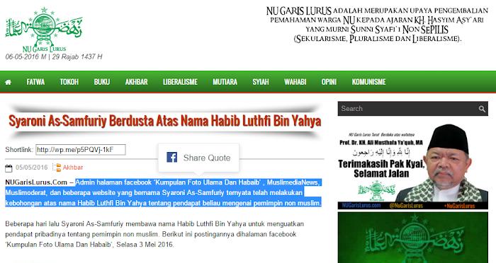 Difitnah Soal Sebar Statemen Habib Lutfi, Ini Jawaban Muslimedianews yang Bungkam NU GARIS LURUS