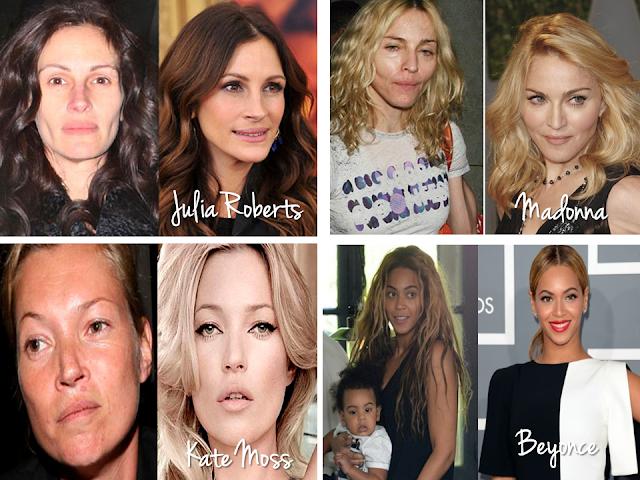 celebridades internacionais sem maquiagem