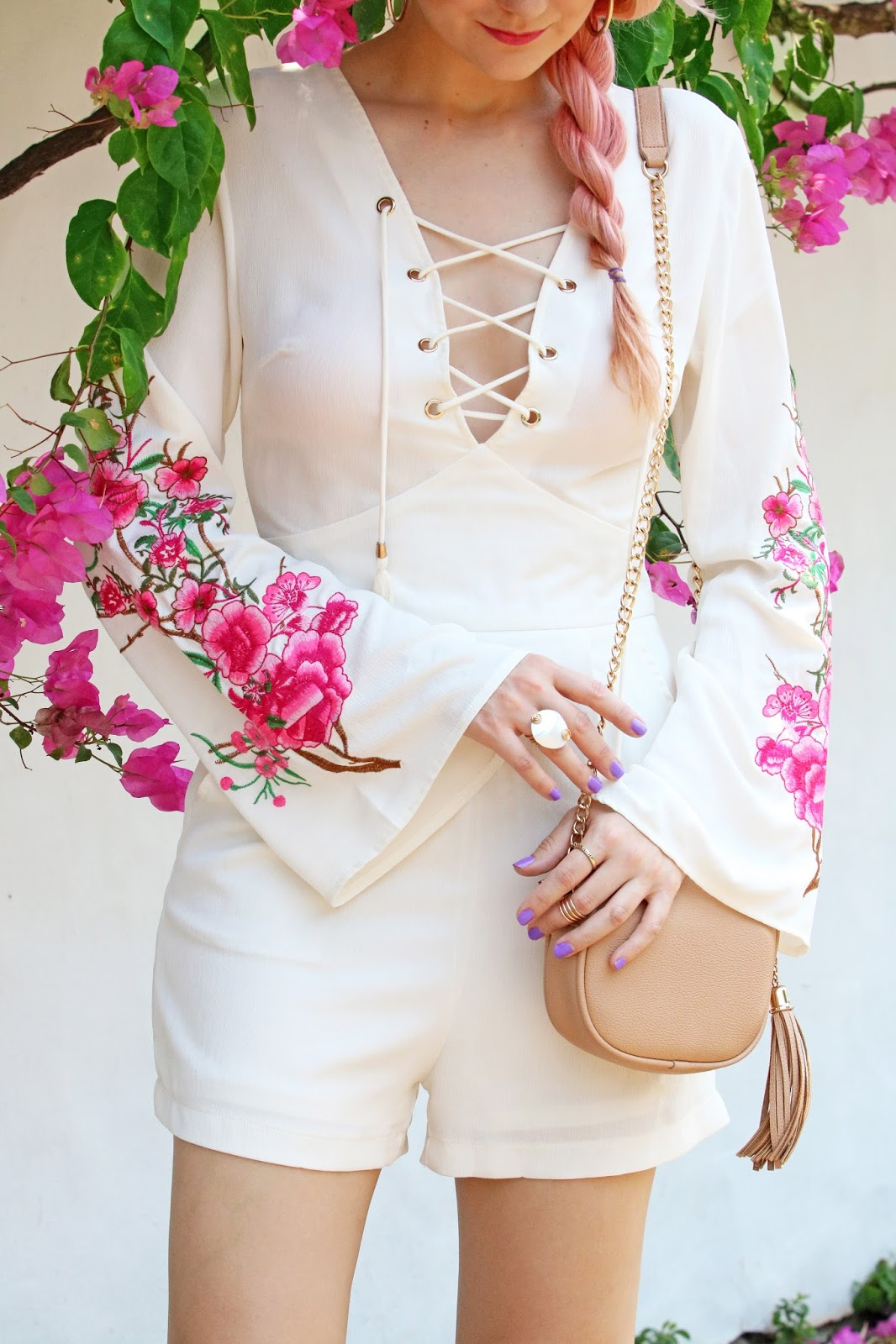 Pretty white romper for Summer