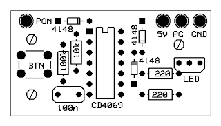 Computer PSU start circuit with bicolor LED · One Transistor