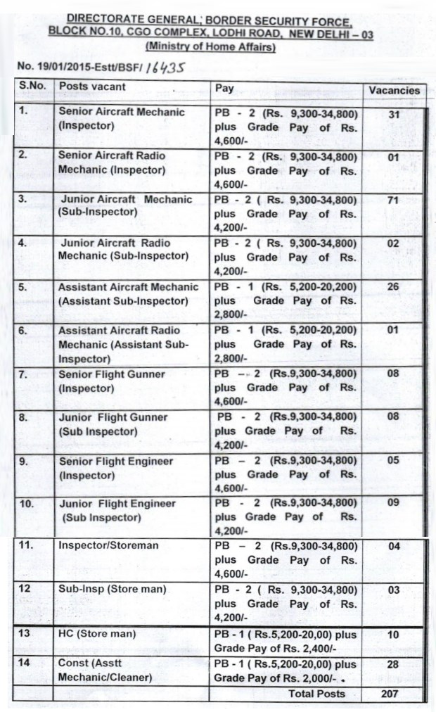 bsf air wing recruitment 2015, bsf jobs 2016, sarkari naukri in bsf, employment news portal