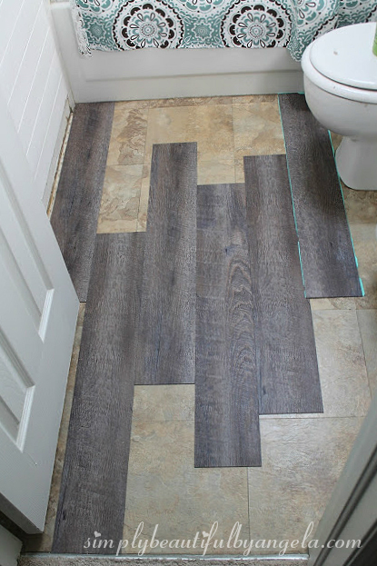 Simply beautiful by angela peel and stick wood look vinyl for Stick down linoleum tiles