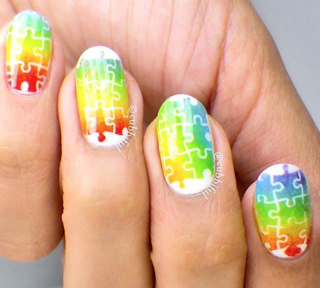 Rainbow Puzzle Nails