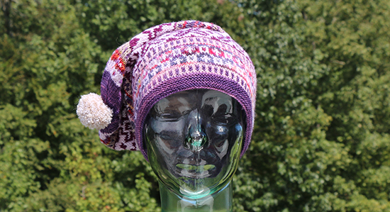 Front View of the Purple, Multicolor, and White Version of the Scandinavian Hat