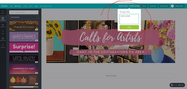 Step 8, How to use Canva, rename, The Good Life of an Artist Blog by Merrill Weber