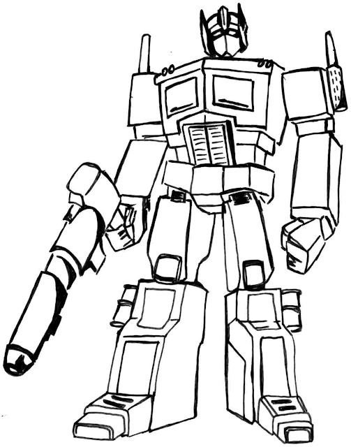 Sketsa Gambar Mewarnai Robot