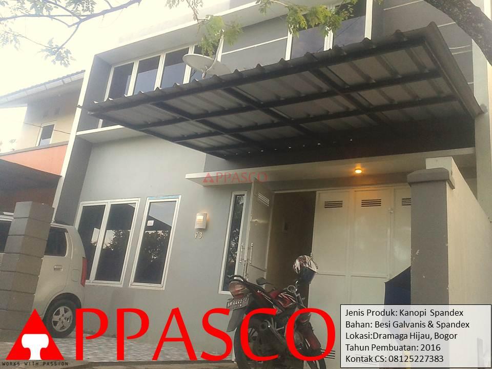 Kanopi Minimalis Modern Spandek di Dramaga Hijau Bogor