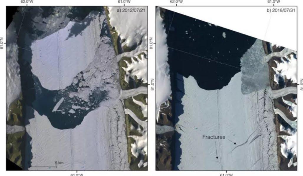 Allarme scienziati: nuova crepa in uno dei più grandi ghiacciai della Groenlandia.