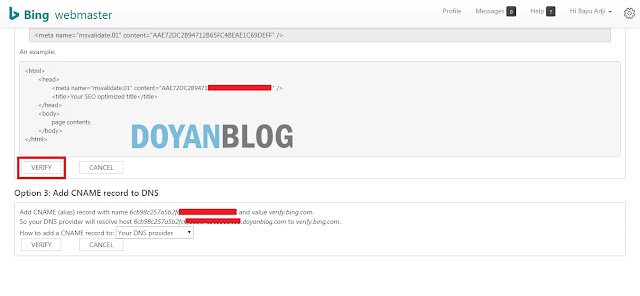 klik verify bing webmaster