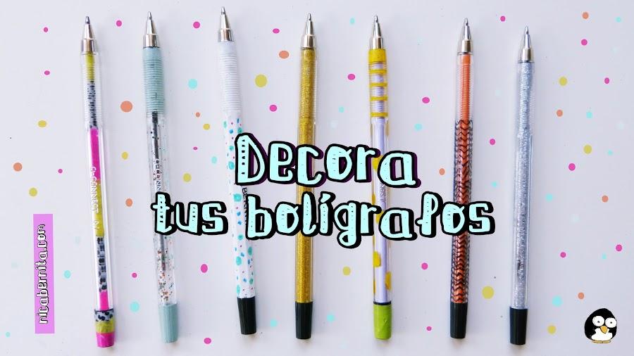 Decorar bolígrafos bic para el regreso a clases. Cómo decorar material escolar o útiles escolares. Nica Bernita
