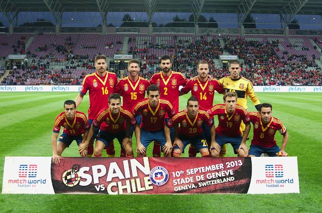 Formación de España ante Chile, amistoso disputado el 10 de septiembre de 2013