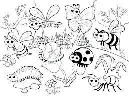 Snail, Ladybug, Bee, Butterfly And Ant Coloring Pages Animals At Garden