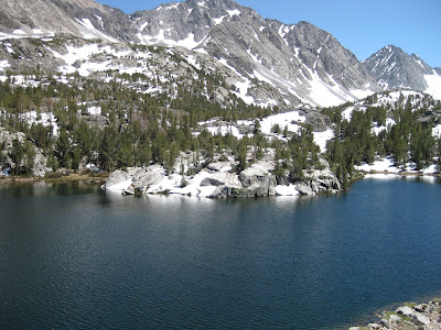 High-Sierra lake with rocky shore