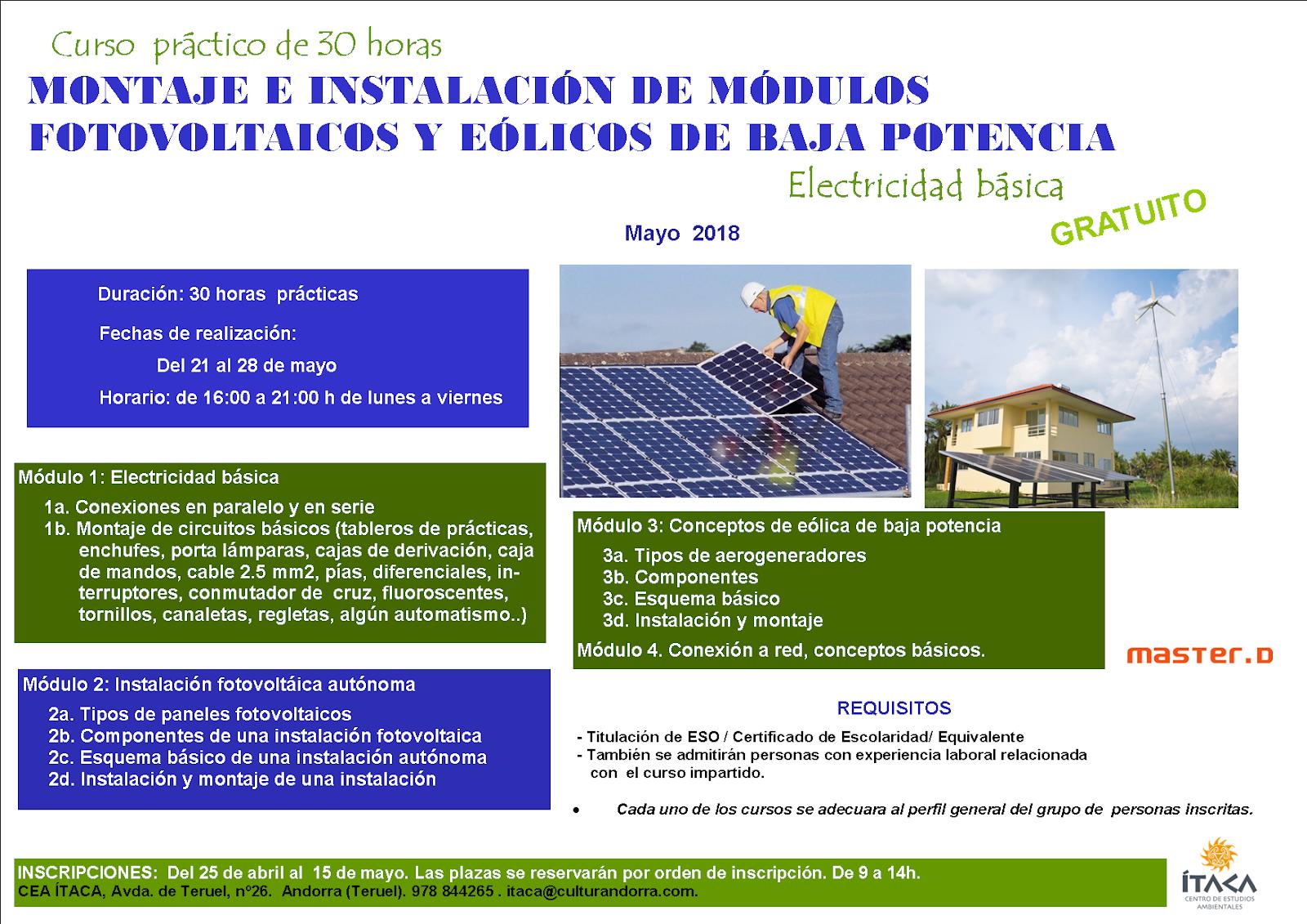 Módulos fotovoltaicos y eólicos