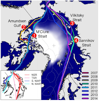 Hypothetical Open Water vessel routes sailing through the September sea ice thickness field for eight recent years from the PIOMAS reanalysis. Routes only plotted when Arctic transits are possible. Four particular points are highlighted, including: 1) M'Clure Strait – the shortest North American route of the northern-NWP; 2) Amundsen Gulf – the longer southern-NWP; 3) Sannikov Strait, and 4) Vilkitsky Strait. Colour of routes indicates which year it was available to navigate. Inset map shows the main Arctic transit options. (Creit: Dr Nathanael Melia)  Click to Enlarge.