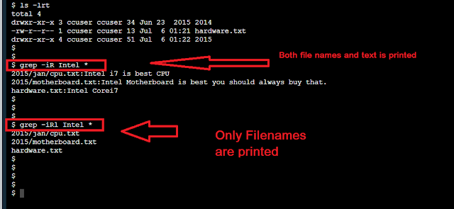 Grep Command example to List only Filenames with Matching