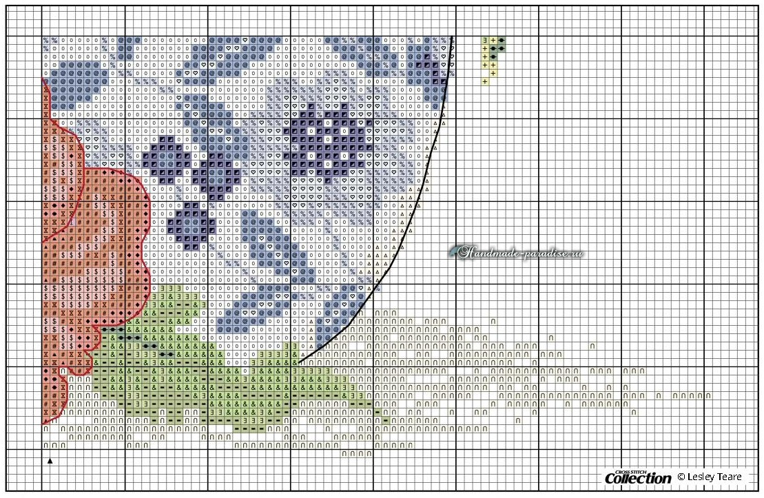 Маки в китайской вазе. Схема вышивки крестом (5)