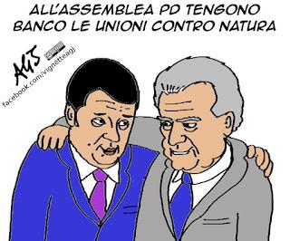 renzi, verdini, assemblea PD, unioni civili, cirinnà, vignetta satira