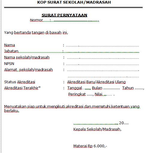 gambar Format surat pernyataan kesediaan sekolah/madrasah mengikuti akreditasi 2017
