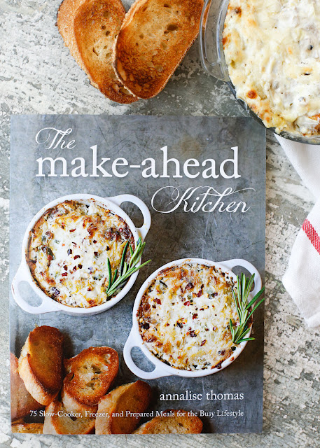 Rosemary Artichoke Dip and a sneak peek at The Make Ahead Kitchen Cookbook - Get the recipe at barefeetinthekitchen.com