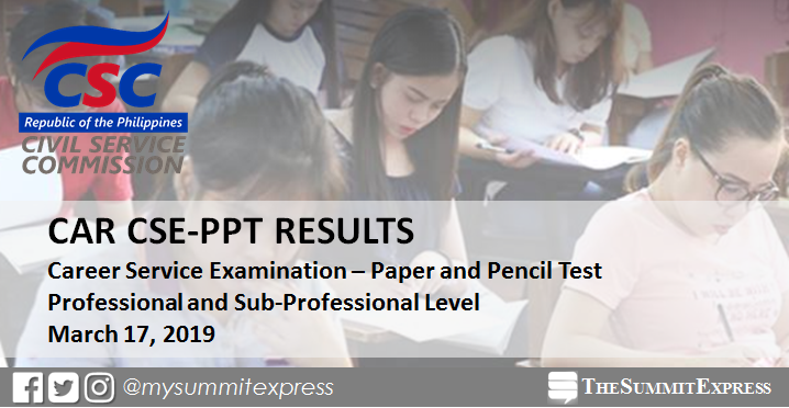 CAR Passers: March 2019 Civil Service Exam results CSE-PPT