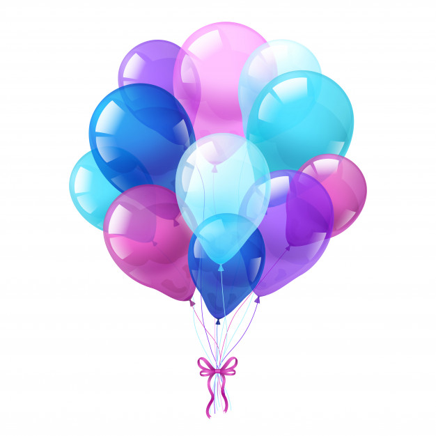Colorful balloons bunch white background Free Vector