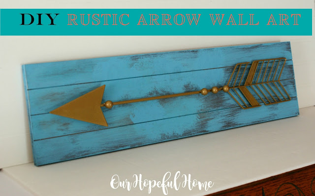 DIY rustic arrow wall art sign
