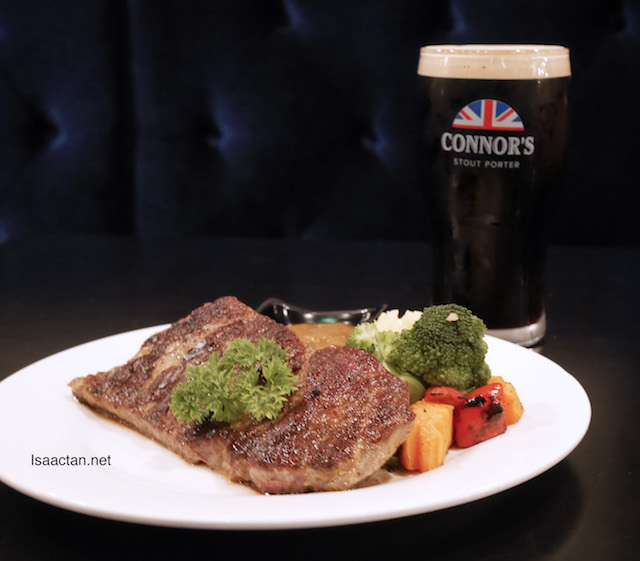 The X Steak with CONNOR'S Infused Sauce with 1 full pint of CONNOR'S Stout Porter – RM64++
