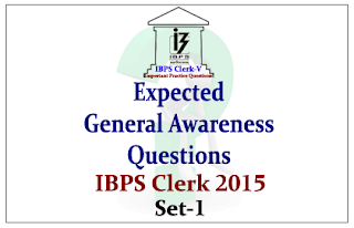 Race IBPS Clerk 2015- Expected General Awareness Questions- Set-1