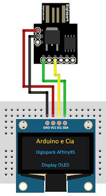 Circuito Digispark ATtiny85 e Display OLED I2C