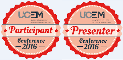 UCEM Conference badges - two badge images participant badge and presenter badge