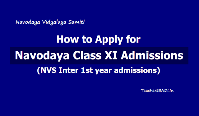 How to Apply for Navodaya Class XI Admissions (Inter 1st year admissions) 2019