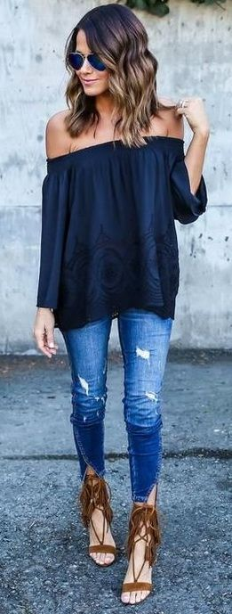 cute spring outfit / dark blue off shoulder top + ripped jeans + brown sandals