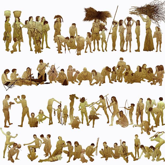 prehistoria, grupo humano, dibujo, color