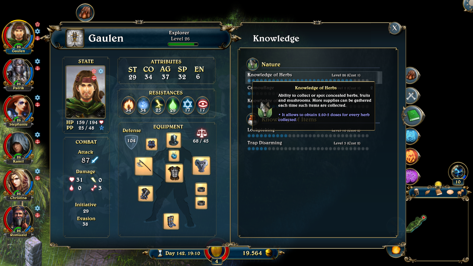 Herbalism skill explained by the in-game help of Lords of Xulima.