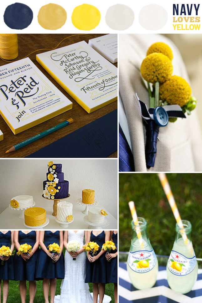 Navy Yellow And White Make Up A Lovely Color Scheme For Summer Or Wedding Particularly An Outdoor One It S Cheerful Bright Not Too Preppy
