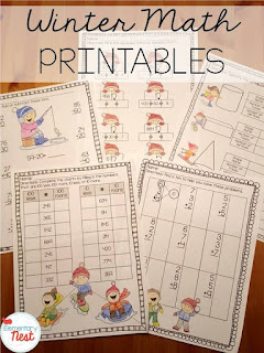 Winter math printables or worksheets plus a few winter FREEBIES- blog post highlighting hands-on activities for kids