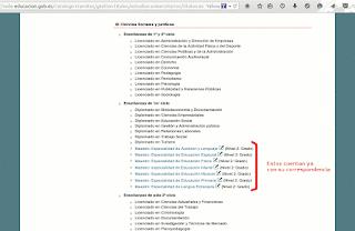 Lista de títulos con correspondencia MECES