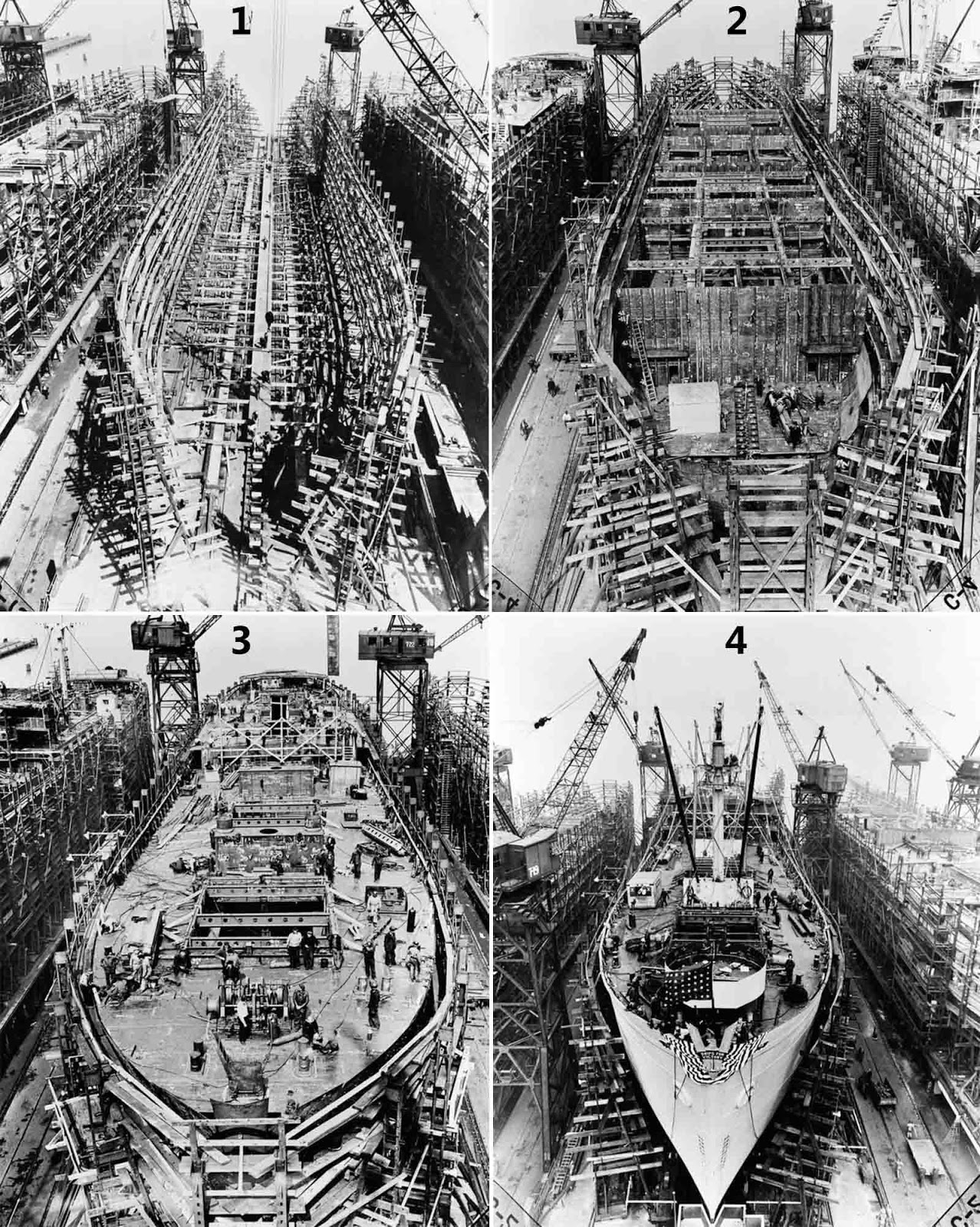 1) Day 2: Keel plates are laid. 2) Day 6 : Bulkheads and girders below second deck are in place. 3) Day 14: Upper deck is in place. 4) Day 24: Ship is ready for launch.