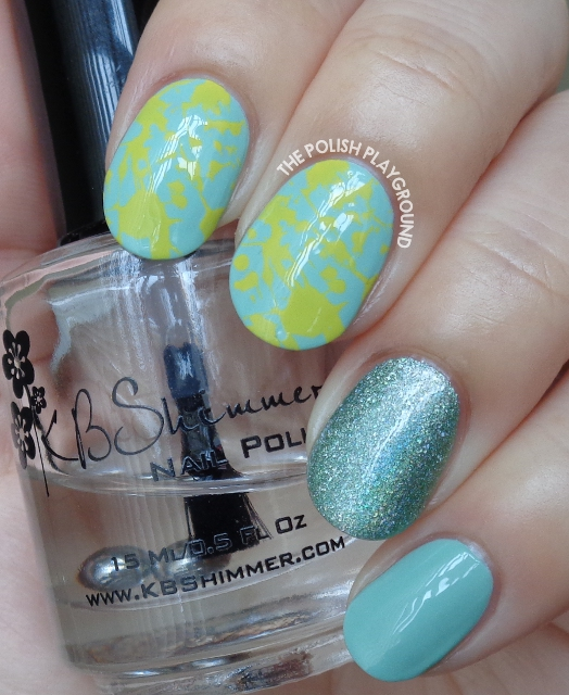 Green and Yellow Splatter Inspired Stamping Nail Art
