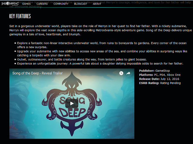 Song of the Deep Insomniac Games publisher GameStop GameTrust website key features