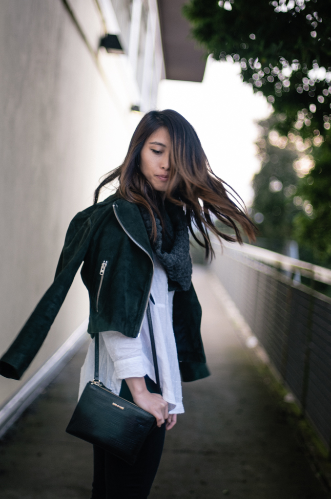 San Francisco Fashion Blogger wearing fall banana republic snood and topshop suede moto jacket