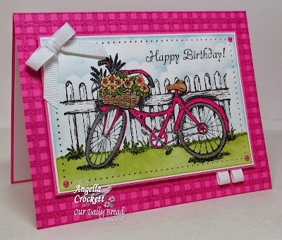 "ODBD ""Bicycle"", ""Little Girls"", ""Gingham Background"" Card Designer Angie Crockett"