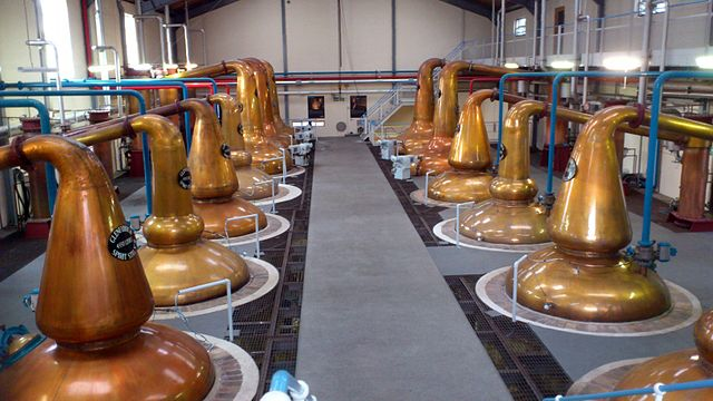 A row of copper whisky still at the Glenfiddich distillery
