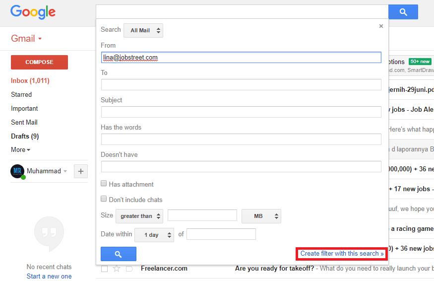 masukkan alamat email pada kolom from. lalu klik Create filter with this search.