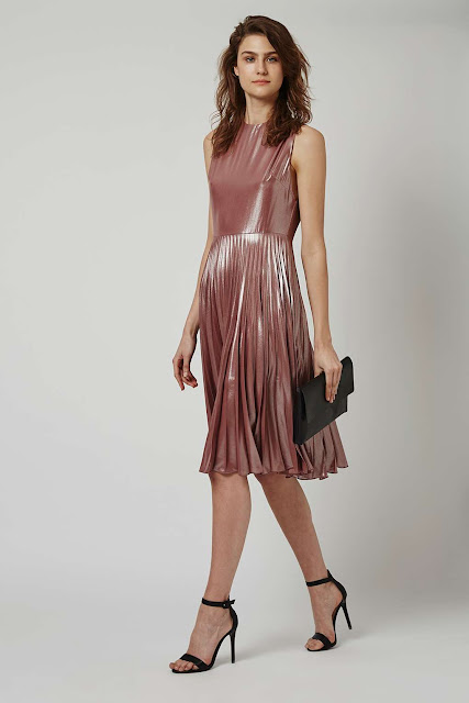 metallic pleated skirt midi dress